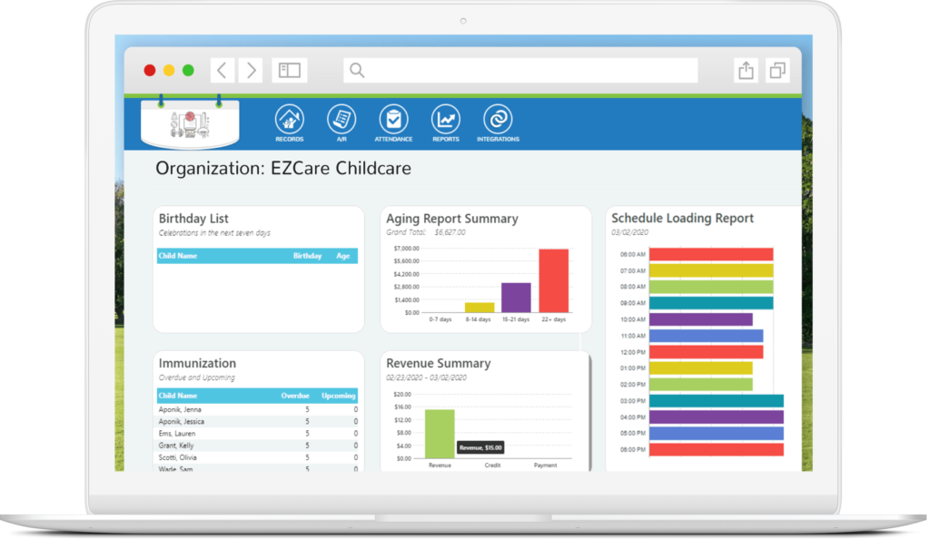 EZCare Childcare Management Software dashboard desktop