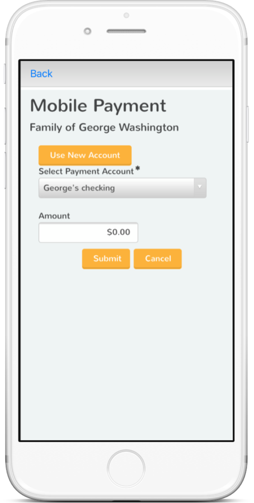 Childcare Payment Mobile App Screenshot shown on Mobile Device